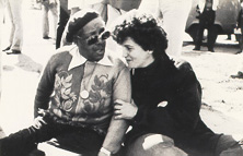 With Mabel Hampton at 1983 Pride march