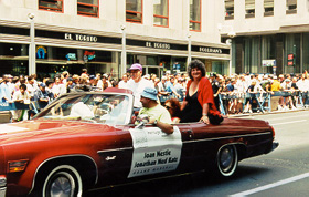 With Jonathan Ned Katz as Grand Marshall at New York City Gay and Lesbian Pride march, 1999